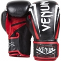 "VENUM ""SHARP"" BOXING GLOVES - NAPPA LEATHER BLACK/ICE/RED"